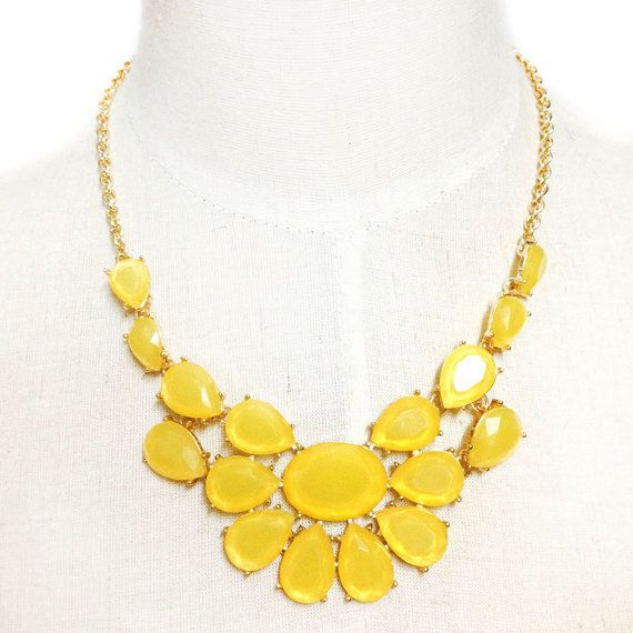 yellow bubbe bib necklace flower necklace statement