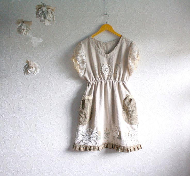 shabby+chic+clothes | Shabby Chic Dress Linen Upcycled Clothing Women