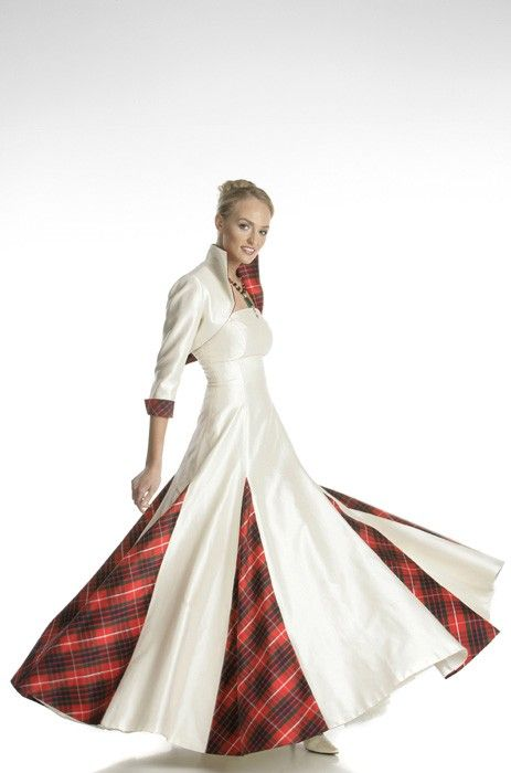 Wedding dress with red tartan insets celtic wedding for Scottish wedding dresses with tartan