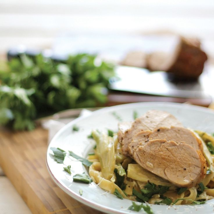 Pan Roasted Pork Tenderloin with Creamy Fennel Tagliatelle #gousto