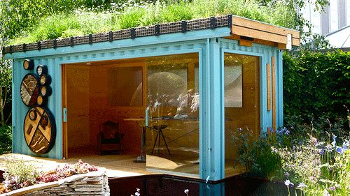 Outdoor room with rooftop garden shipping container for Pinterest outdoor garden rooms