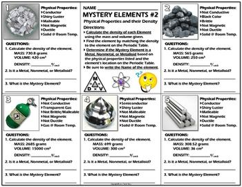 Worksheet: Mystery Elements and Their Density Version 2