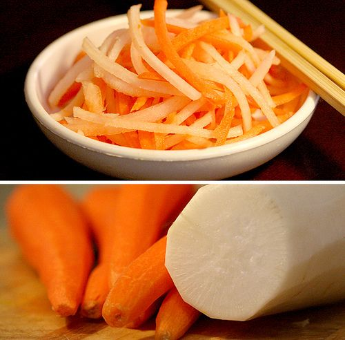 Pickled Carrots and Daikons. Great is sandwiches and salads or a side ...