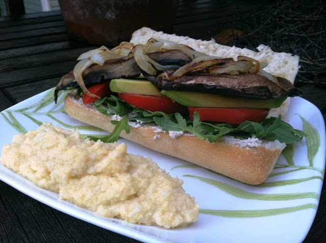 ... Homemade Grilled Portobello Sandwich with Balsamic Goat Cheese Spread