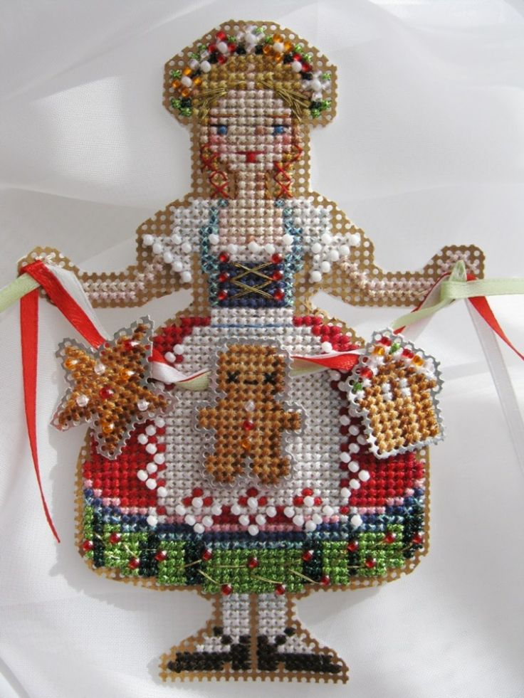 Cross stitch- Christmas ornament on plastic canvas