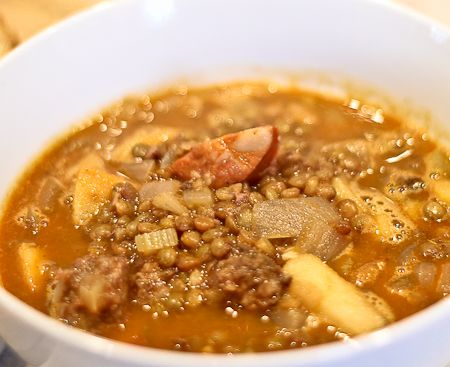 Spanish Lentil Soup with Sausages and Apples | Recipe