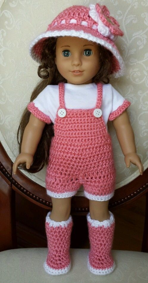Crochet Patterns American Girl Doll : American Girl 18 Doll Clothes Crocheted Crochet Overalls Set Outfit ...