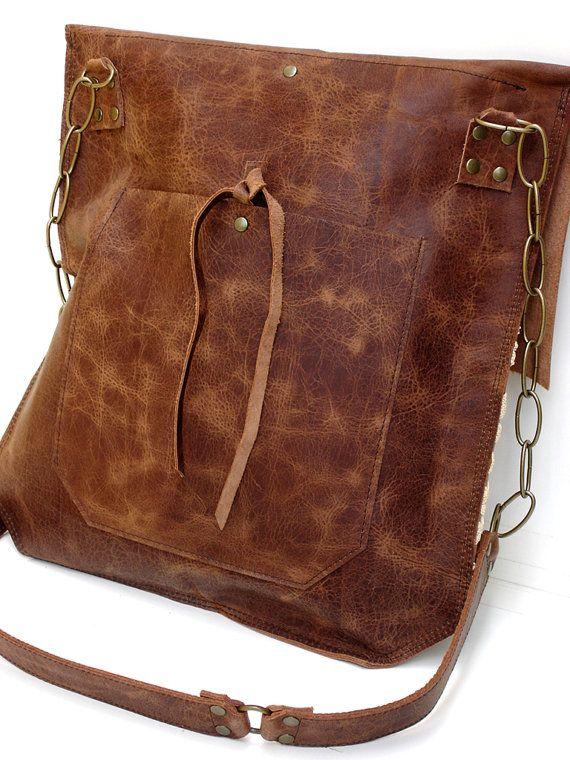 Leather Crochet Bag : Boho Leather Messenger Bag with Crochet Lace & Antique Key - XL Delux ...