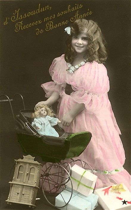 Vintage postcard, Girl with doll in a pram