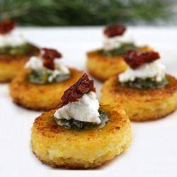 Sundried Tomato Polenta Bites... a festive & elegant holiday appetizer ...