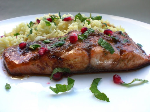 Pomegranate Molasses Glazed Salmon with Armenian Rice Pilaf