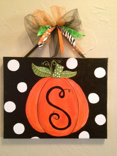 Halloween or fall custom pumpkin canvas for Halloween painting ideas