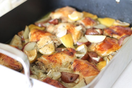 ... Slow Roasted Chicken from Nigella (lemons, garlic, and potato wedges