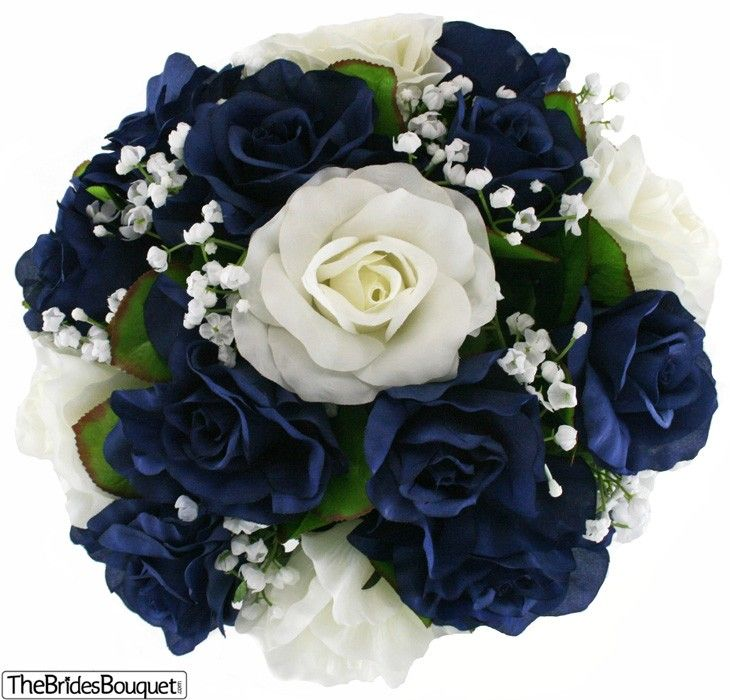 Navy Blue And Ivory Silk Rose Nosegay