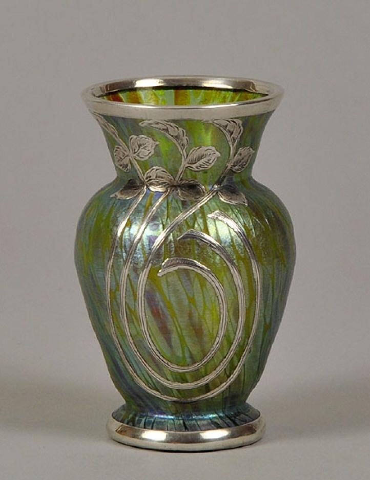 loetz silver overlay vase 1900 vases pinterest. Black Bedroom Furniture Sets. Home Design Ideas