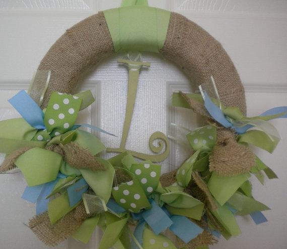 Burlap Ribbon Wreath in Blues & Greens for hospital door, your front door, nursery, or baby shower.