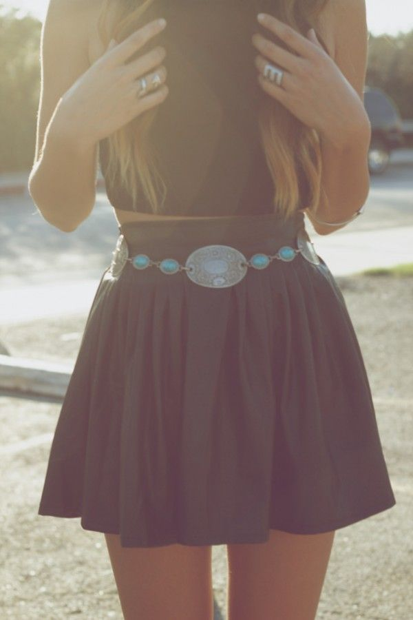 skirt with turquoise belt