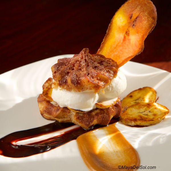 ... | cinnamon cream puff, vanilla ice cream, cajeta, chocolate sauce