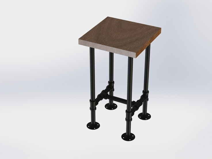 Tall end table using 1in black pipe diy pinterest for Tall black end table