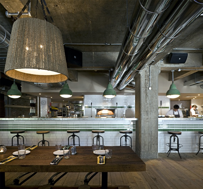 Industrial rustic pizza decor pizza east industrial for Interior finishing company