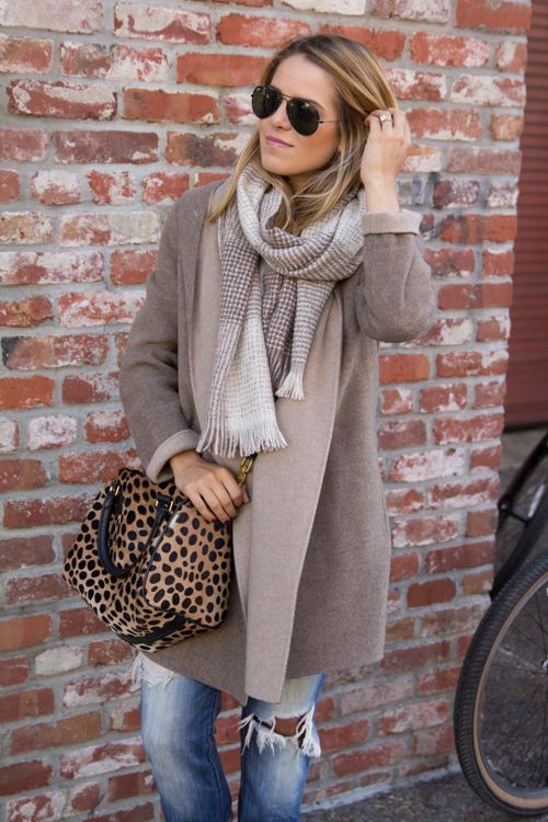 Vince coat, Joe's jeans, ASOS T-shirt, J.Crew scarf, Clare Vivier bag, Ray-Ban sunglasses.