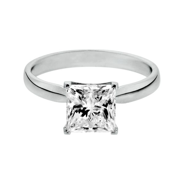 Engagement Ring Vancouver in 18-carat white gold with princess-cut ...