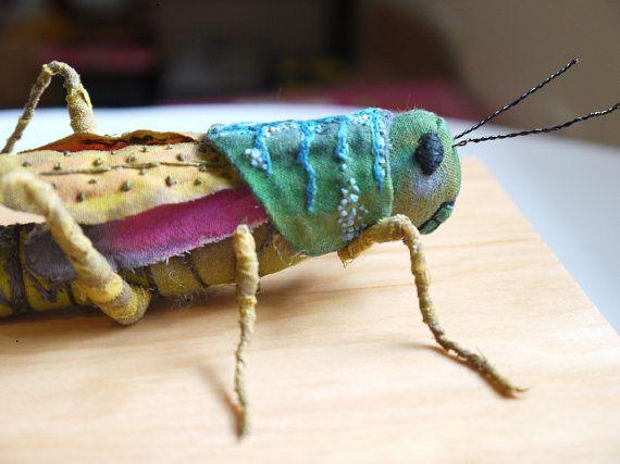 Fabric sculpture - Grasshopper textile art (by irohandbags on etsy)