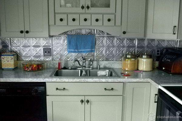 tin backsplash kitchen kitchens pinterest