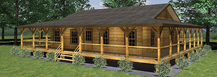1500 sq ft log home with wrap around porch joy studio for Log cabin plans with wrap around porch