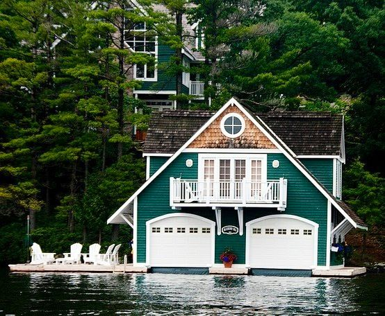 Cottage with a matching boat house 0 log homes Lake house builders