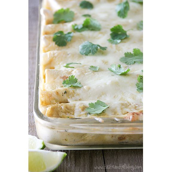 with Creamy Green Chile Sauce: Enchiladas are filled with a chicken ...