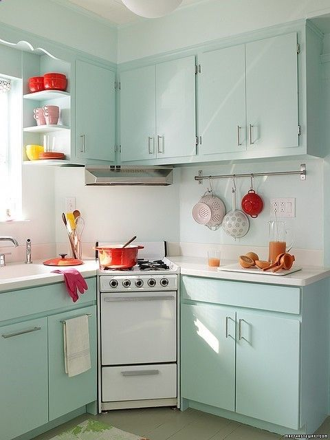 Small Kitchen Colors Beauteous With Retro Blue Kitchen Photo