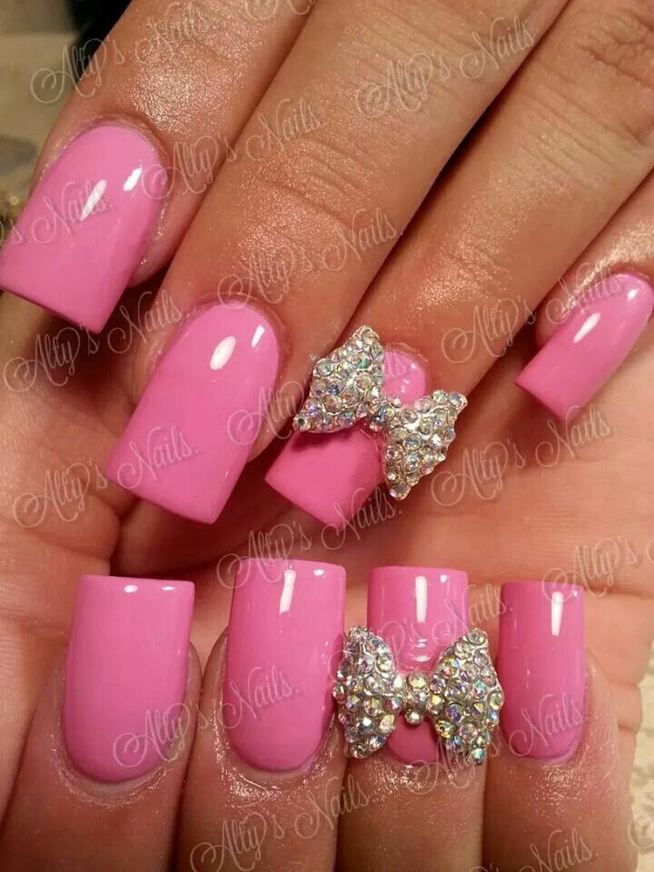pink nail designs with bows wwwimgkidcom the image