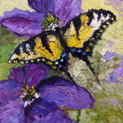 Swallowtail Butterfly Oil Painting by Ginette