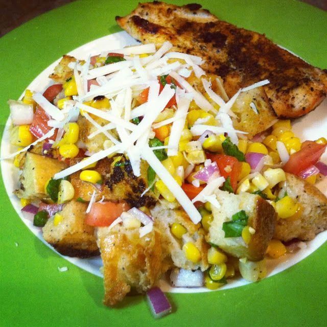 Grilled corn panzanella | Salad Recipes | Pinterest