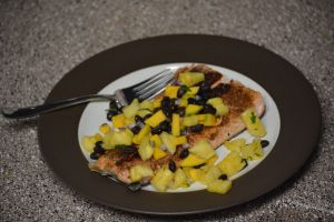 Jamaican Jerk Salmon with Mango Pineapple Salsa