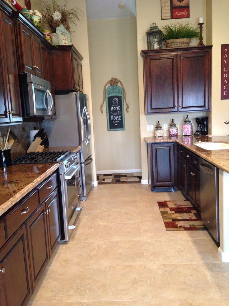 Dark kitchen cabinets light floors  Home Decor  Pinterest