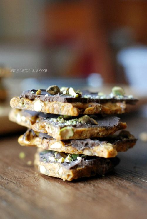 Pistachio cardamom brittle covered in chocolate. www.lemonsforlulu.com
