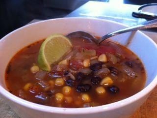 Tomato, Corn and Black Bean Soup aka Fiesta Soup
