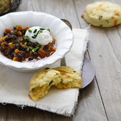Chile Cheese Cornbread Scones with Sweet Potato Black Bean Chili