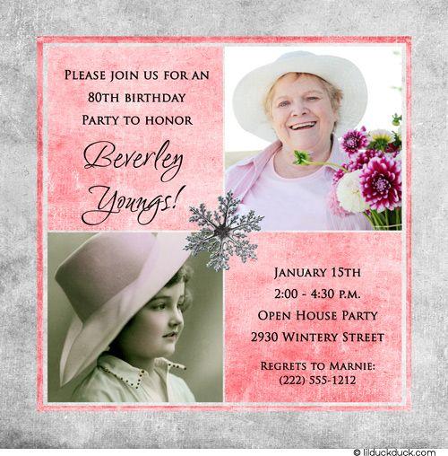 Invite ideas   Mom's 80th Birthday Party   Pinterest