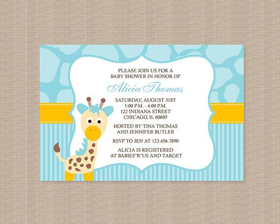 giraffe baby shower invitations in blue by honeyprint on etsy