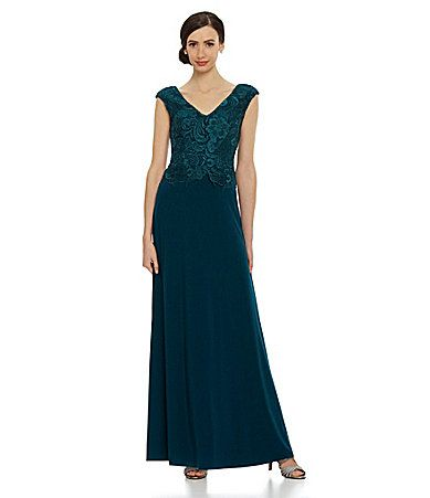 Patra LaceBodice Jersey Gown Dillards