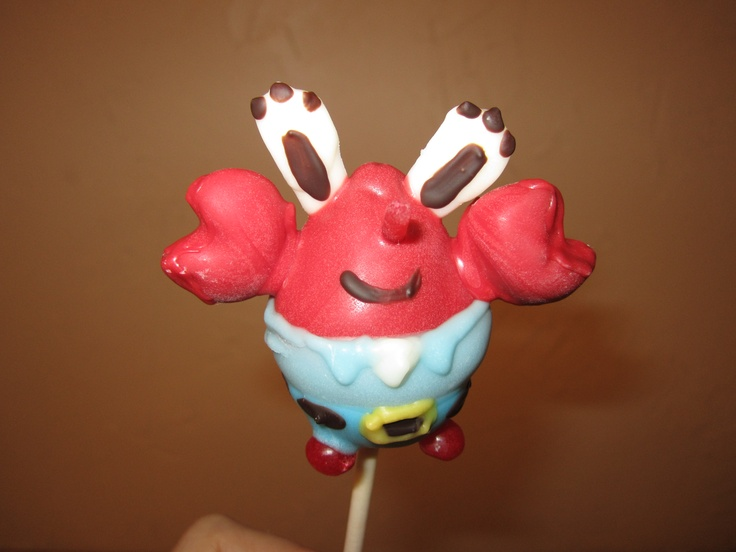 Mr Krabs Cake Pops. I used Jr Mints for the claws. this is a more difficult one as well.