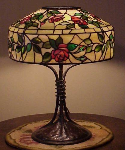 antique arts crafts leaded slag stained glass handel tiffany lamp b. Black Bedroom Furniture Sets. Home Design Ideas