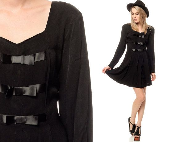 Black BOW Dress 80s Mini Pleated Party Long Sleeve Sheath 1980s Cockt ...