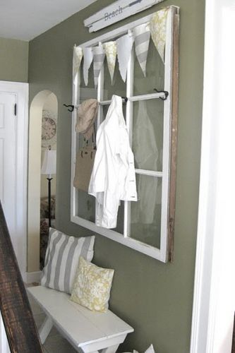 An old window turned into a coat hanger for the home for Decoration fenetre ikea