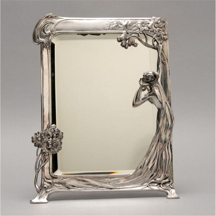 Art nouveau wmf pewter table mirror pewter art pinterest for Miroir art nouveau