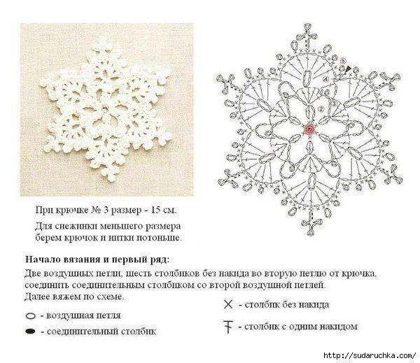 Вязание крючком схемы снежинок 17