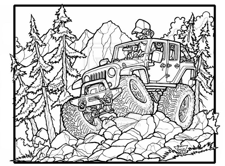 Line Drawing Jeep : Fun jeep wrangler unlimited off roading great one for